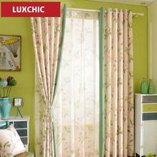 HOT american Printed Linen Cotton Curtains for Living Room Bedroom Custom Made Modern Curtains Tulle Voile