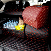 Car trunk Heavy PU leather   Stowing     Tidying   Interior Holders,Storage Basket Organizer Boot Stuff Food Automobile Storage Bags