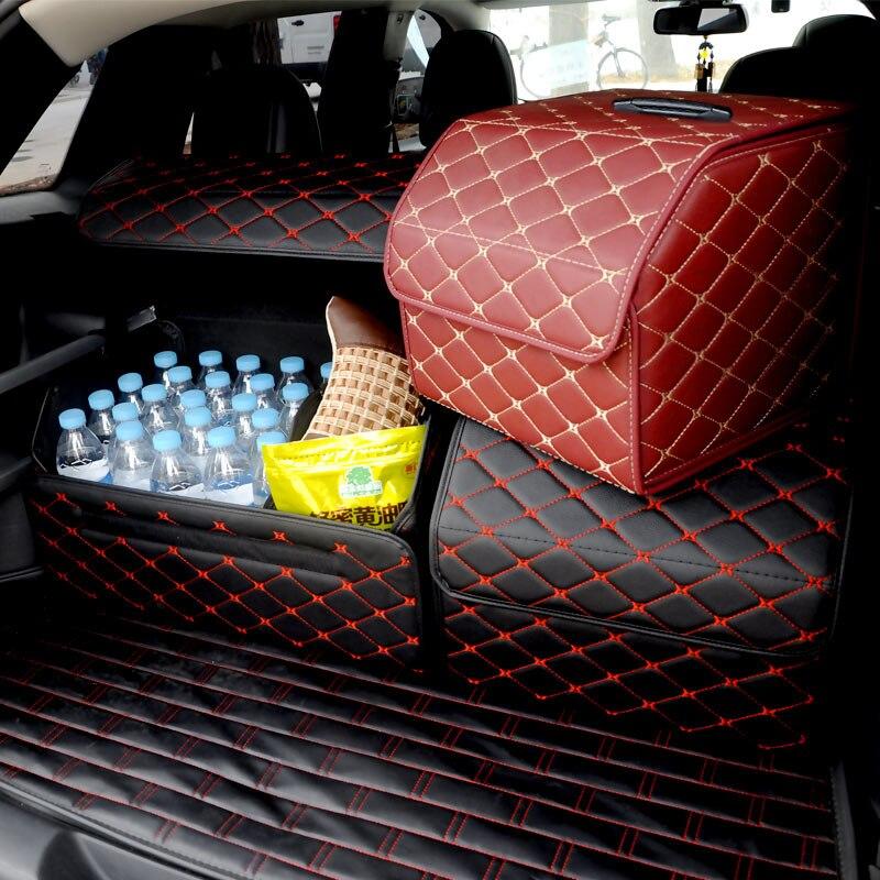 Mala do carro Pesado Estiva Tidying Interior de couro PU Titulares, Cesta do Armazenamento Organizador Bota Coisas Food Sacos De Armazenamento De Automóveis