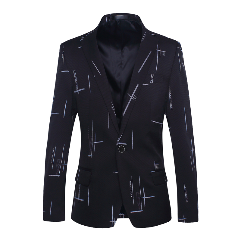 BROWON Korean Suit Spring Autumn Mens Blazers Casual Fashion Print Suit Slim Fit Formal Jackets Wedding Suits & Blazers