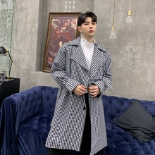 Male Loose Long Cardigan Windbreaker Jacket Men Vintage Fashion Plaid Trench Coa