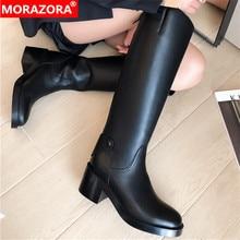 MORAZORA 2020 neue ankunft frauen knie hohe stiefel runde kappe aus echtem leder schuhe quadratische fersen ritter plattform stiefel weibliche schwarz