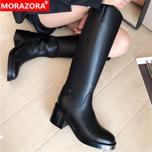 MORAZORA 2020 new arrival women knee high boots round toe genuine leather shoes square heels knight platform boots female black