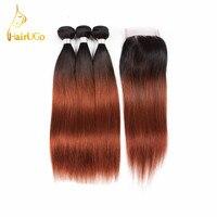 HairUGo מראש בצבע שיער Omber שיער ישר 3 חבילות עם סגירה פרואני 100% שיער אדם # 1B/33 צבע אי רמי