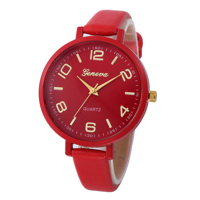 Women Casual Checkers Faux Leather Quartz Analog Wrist Watch women watch bracele
