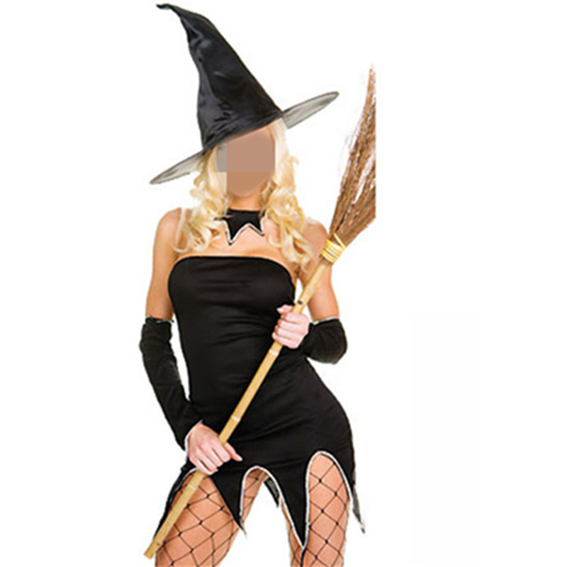 Womens Adult Witch Costume Sexy Black Tee Dress With Witch Hat For Halloween Cosplay Party Costume For Adult