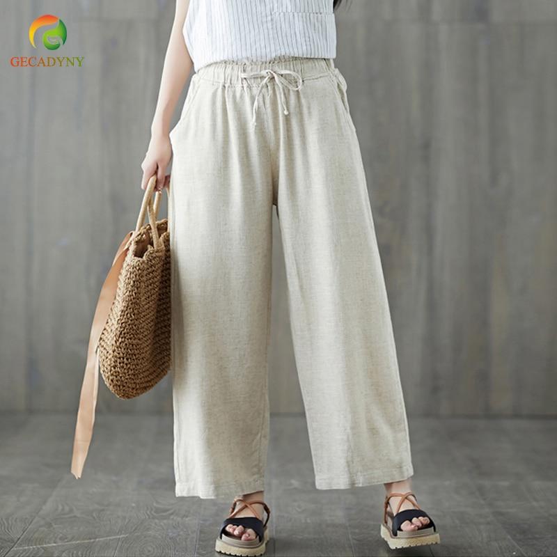 Comfort Cotton Linen   Pants   Women Fashion Spring Autumn Summer Ethnic Trousers Female Casual Loose   Wide     Leg     Pants   Solid Color