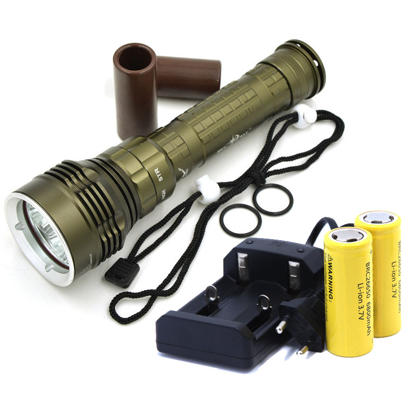 NEW Diving Flashlight led light 8000lm 100m Underwater Torch Lantern 5x CREE XML L2 Waterproof Lamp +2*26650 Batteries+Charger 100m underwater diving flashlight led scuba flashlights light torch diver cree xm l2 use 18650 or 26650 rechargeable batteries