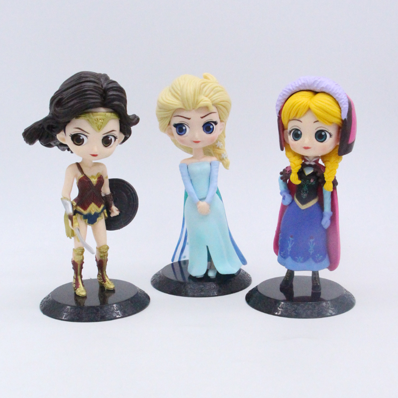 Elsa Anna Wonder Woman Qposket Cute Figure Dolls Toys for Decoration 15cm