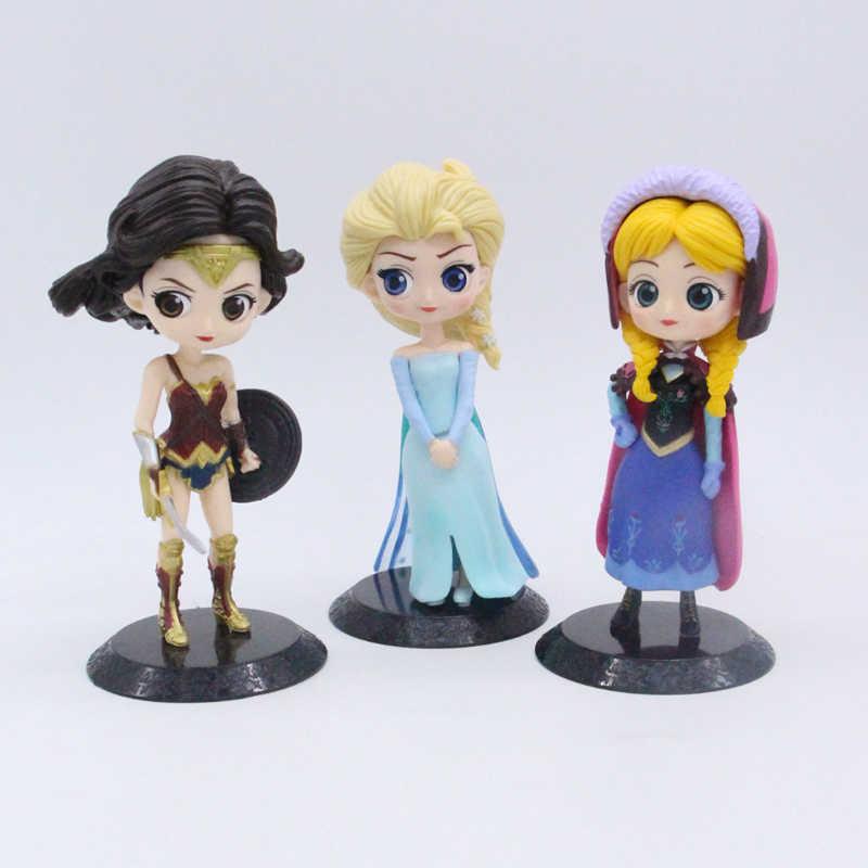 Elsa anna mulher maravilha qposket bonito pvc figura bonecas brinquedos para decoração 15cm
