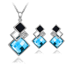4 colors New Arrival White/18K Gold Crystal Jewelry Sets Geometry Square  Fashion Jewelry Sets For Women Necklace Earrings Set