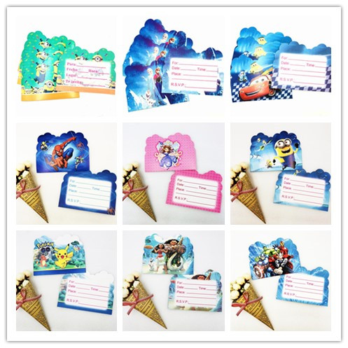 Disney 10pcs/bag Pokemon Go/Minions/Spiderman/Trolls/Moana Romance Party Invitation Cards Party For Chidren Birthday Decoration