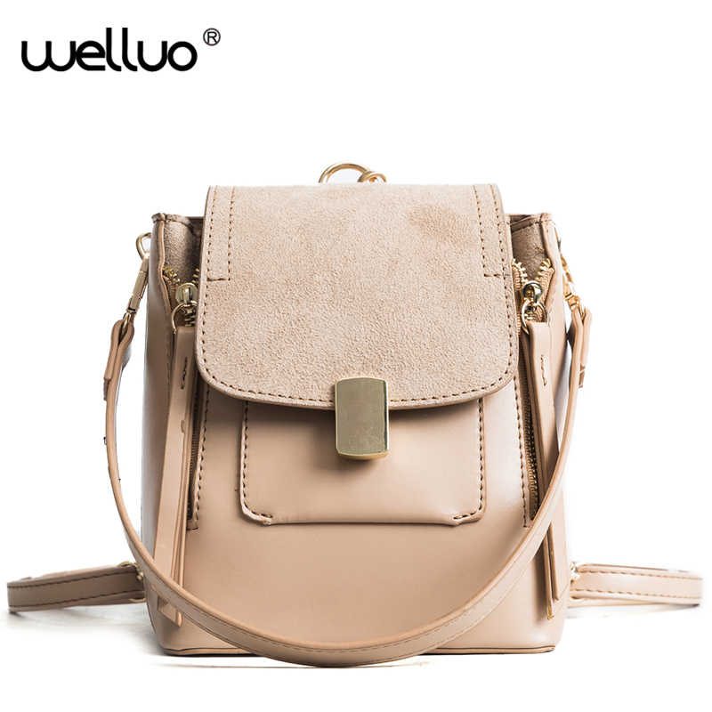 Wellvo 2018 Women PU Leather Backpack Solid Cover Shoulder Bags Fashion Simple Style Backpacks for Teenage Girls XA260WB 2016 fashion women waterproof pu leather rivet backpack women s backpacks for teenage girls ladies bags with zippers black bags