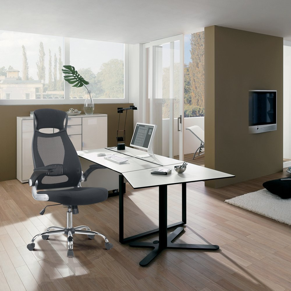 Купить с кэшбэком Office Chair Black Executive Chair Ergonomic Swivel Mesh Computer Chair High Back Padded Desk Chair With Foldable Armrest