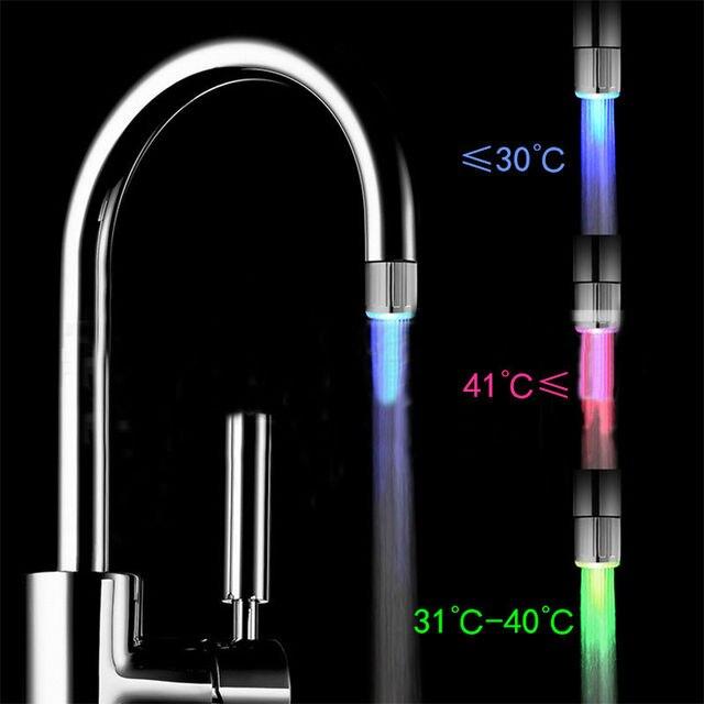 1 pz Soffioni LED Luce Acqua Rubinetto Sensore di Temperatura RGB Doccia Flusso