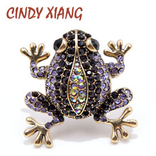 CINDY XIANG 3 Colors Choose Rhinestone Frog Brooches for Women Vintage Fashion Animal Brooch Pin Cute Vivid Carton Style Jewelry
