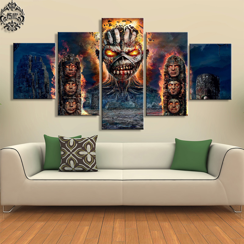 Canvas printed poster 5 pieces iron maiden band painting for Modern home decor pieces