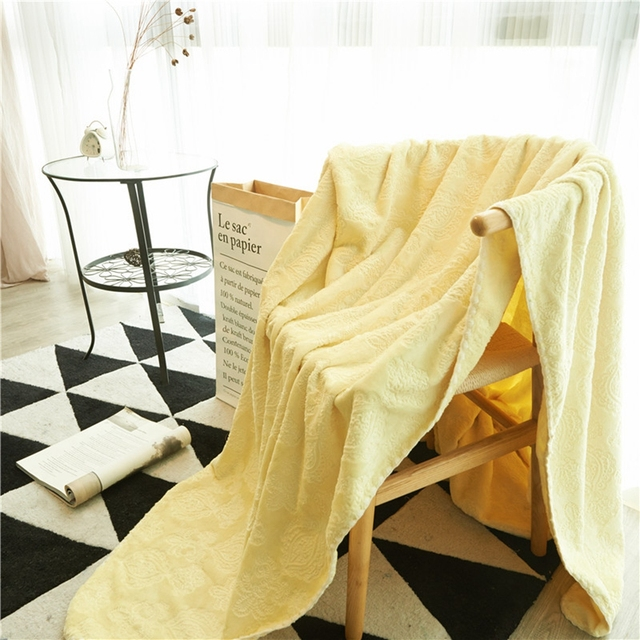 yellow throw blanket on the bed sofa solid color fleece blanket for