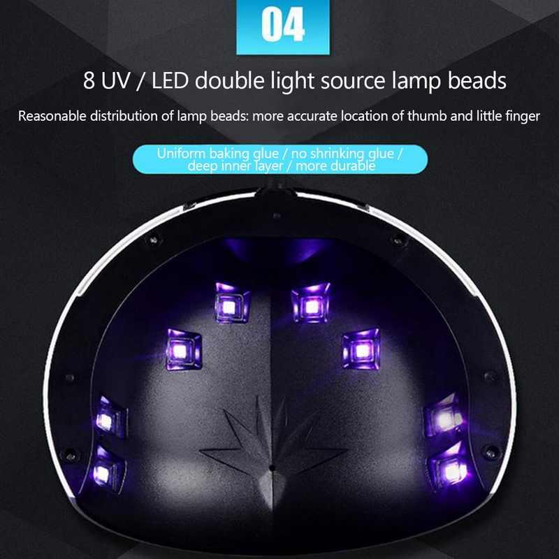 อัจฉริยะเครื่องส่องไฟ LED โคมไฟเล็บ 24W LED UV Baking โคมไฟเล็บเครื่องมือ 60/90/120 S TIMER โคมไฟเล็บ