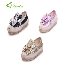 2017 New Girls Three Colors Cute Bow Sequin  Princess Golden Silver Footwear  Soft Sole Summer Beautiful Fashion Peas shoes