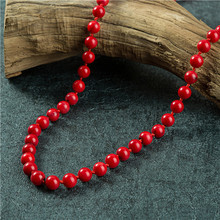 Hot Sale Jewelry Accessories Coral Stone Loose Beads Red Natural Beads Round High Quality Beads 8mm Knotted For Necklace цена в Москве и Питере