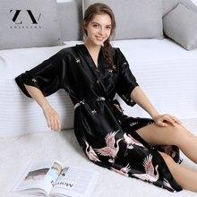 Купить с кэшбэком Silk Bridesmaid Robes Kinomo Lingerie Pajamas Summer Dress Robe Women's Pajamas Sexy Bathrobe Dressing Gowns Night Bathrobes