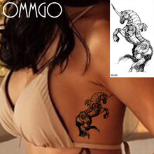 OMMGO Knight Horse Temporary Tattoos For Men Sticker Black Armor Fake Tattoo Custom Tatoos Waterproof Deco Fashion Body Art Arm(China)