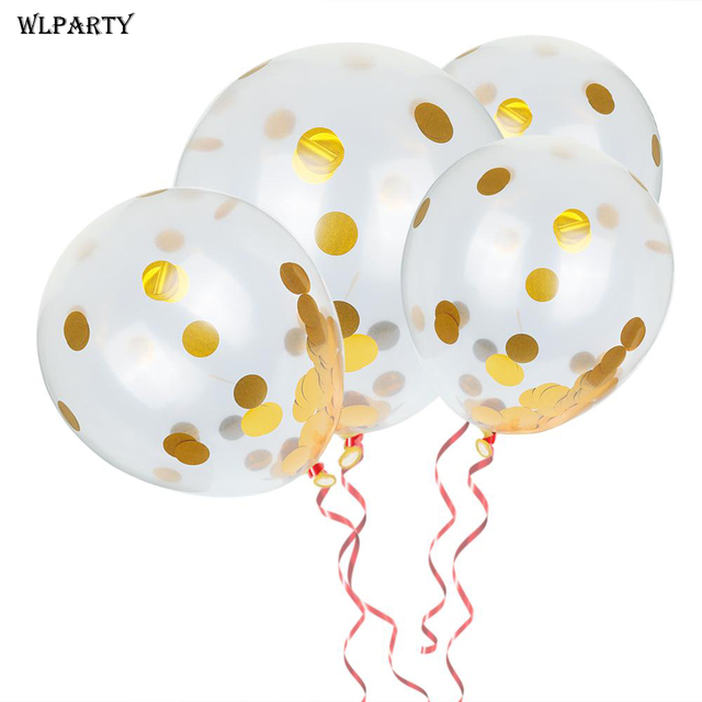 4 stuks Clear Pailletten Confetti Ballonnen Goud Helium Ballonnen Verjaardag Wedding Engagement Evenementen DIY Decoratie 12 Inch # A20