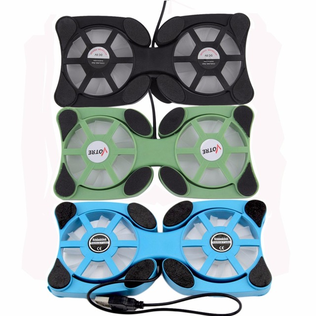 "1pcs Folderble 3 Color USB Port Mini Octopus Notebook Fan Double Fans Cooler Cooling Pad For 14"" Laptop Black Hot Worldwide"