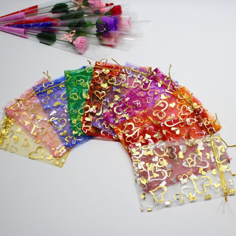 Romantic Heart Printed Clear Organza Candy Gift Bags Drawstring Jewelry Gift Pouch Bag Wedding Party Favor  Christmas  Halloween