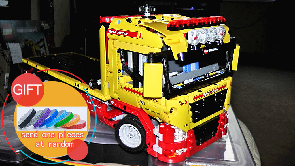 20021 1143pcs technic series  Flatbed trailer Model Building blocks Bricks Compatible Toy Gift Educational Car 8109 lepin technican technic 2 4ghz radio remote control flatbed trailer moc building block truck model brick educational rc toy with light