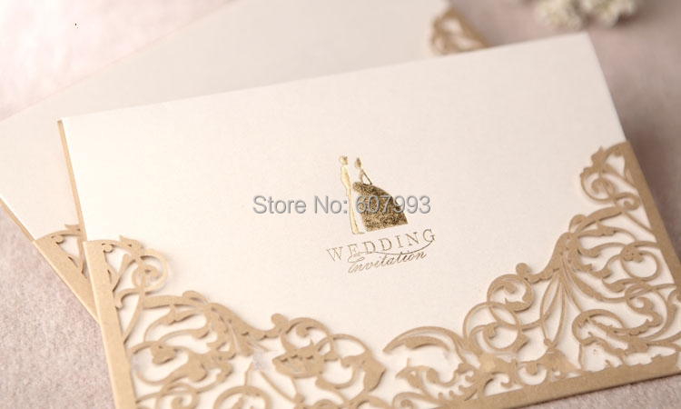 Gold customized laser cut pocket wedding party invitations card gold customized laser cut pocket wedding party invitations cardpersonalized marriage engagement invitation cards kit100pcs in cards invitations from stopboris Gallery
