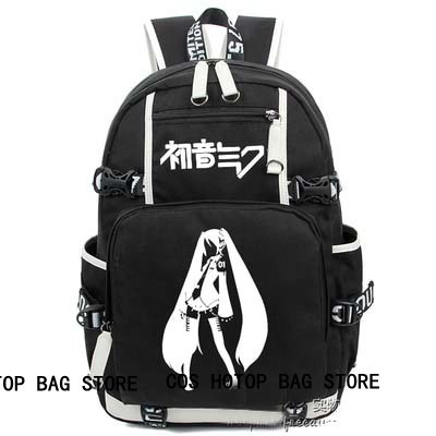 anime  VOCALOID Hatsune Miku Backpack Cosplay Fashion Canvas Bag Luminous Schoolbag Travel Bags packsack free shipping vocaloid hatsume miku short green anime cosplay wig 2 x ponytails