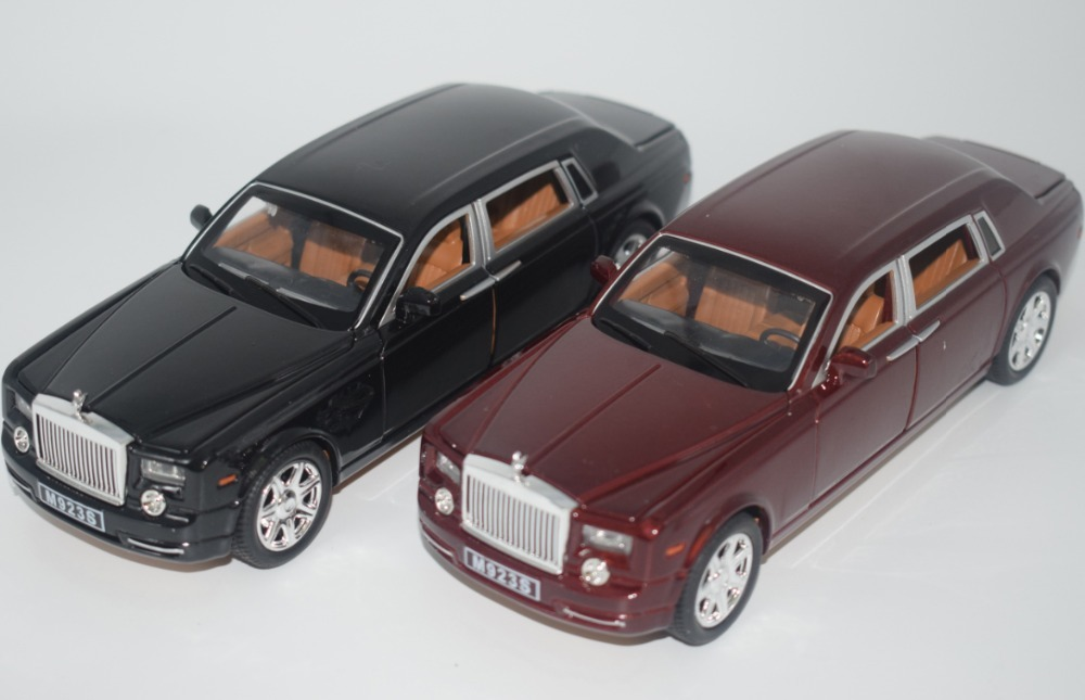 High Simulation 1:24 Rolls-Royce Phantom Lengthened Cohes Diecast Alloy Car Mode With Six Door For Kids Gift Toy Collection