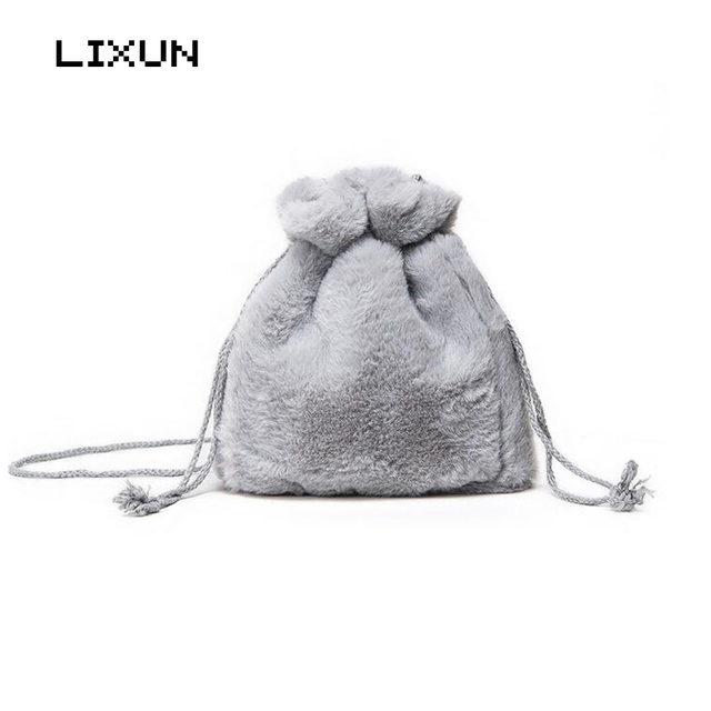WinterLady Small Drawstring Bucket Bag Messenger Bags Soft Faux Fur Sweet  Handbags Crossbody Shoulder Bag For Women Girls Bolsas b2fdb2b524e