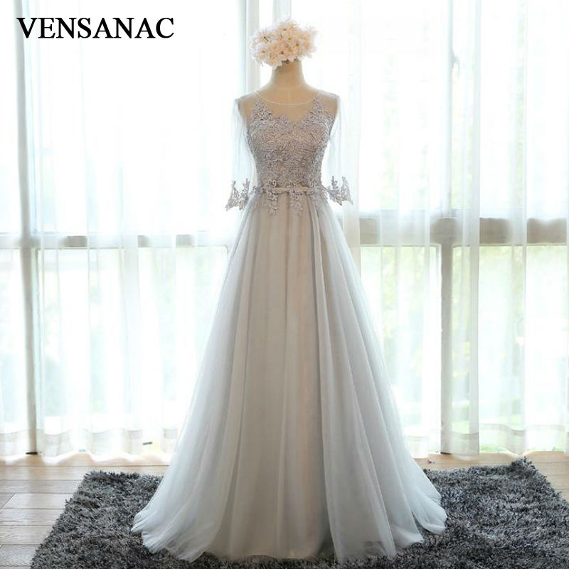 VENSANAC 2017 New A Line Lace Appliques O Neck Long Evening Dresses Elegant Half Sleeve Draped Embroidery Sash Party Prom Gowns in Evening Dresses from Weddings Events