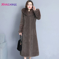 HANZANGL Sheep Sheared Coat Female 2018 Winter New Fox Fur Collar Hooded Over the Knee Haining Water Mink Fur Coat Outwear M 4XL