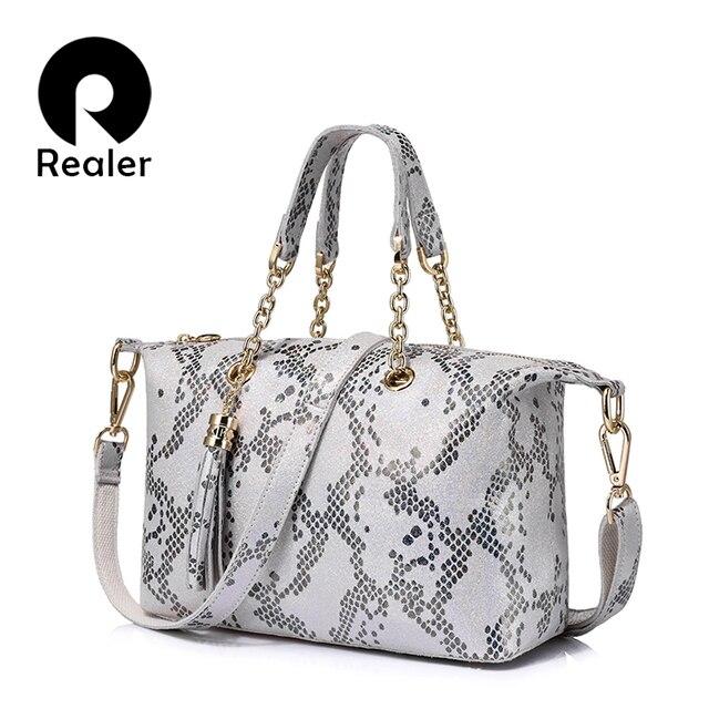 REALER бренд новый дизайн женская сумка-боулинг из натуральной кожи с жемчужным блеском