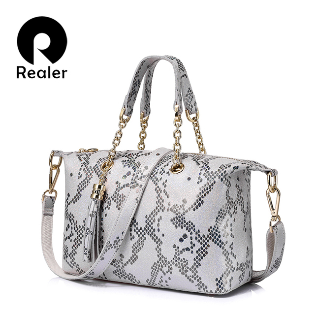 REALER brand new genuine leather handbag women small tote bag pearl leather pattern design top-handle bag ladies shoulder bags