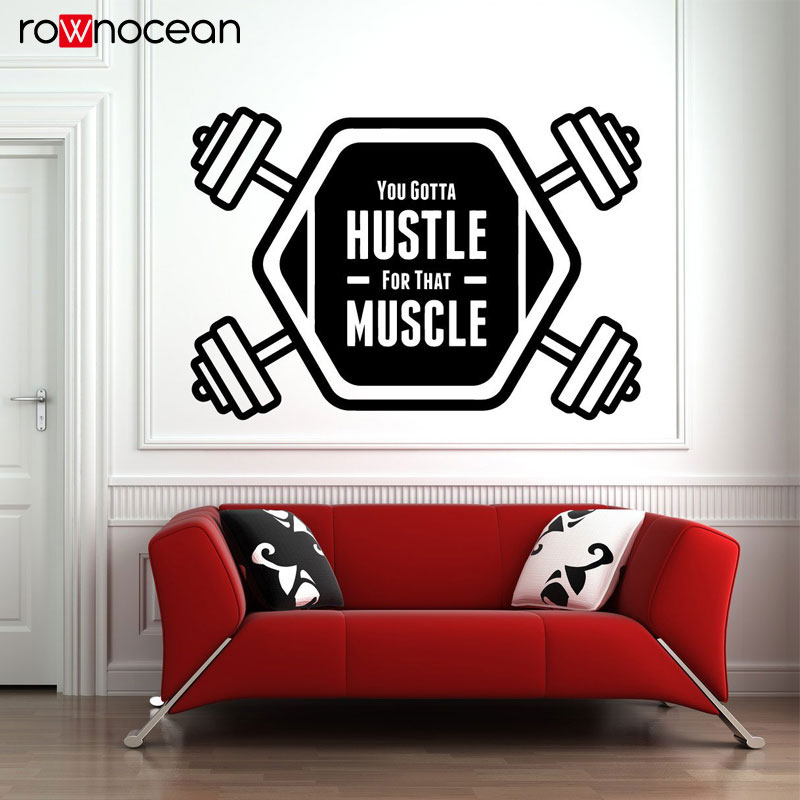 Gym Wall Vinyl Decal No Pain No Gain Sport Fitness Motivational Quote Custom Sticker Inspirational Poster Mural Art Decor 3G04 in Wall Stickers from Home Garden