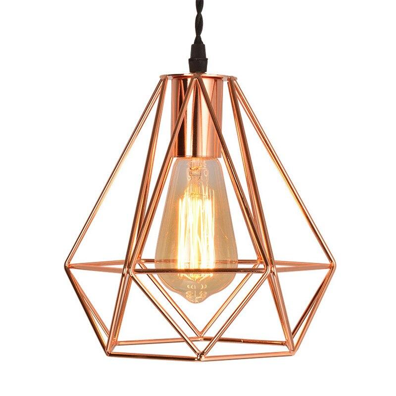 Nordique Or Plaqué Fer Cage Pendentif Lampes Loft Simple Métal Lustre Pendentif Lustres Pour Cuisine Salle À Manger E27 Éclairage