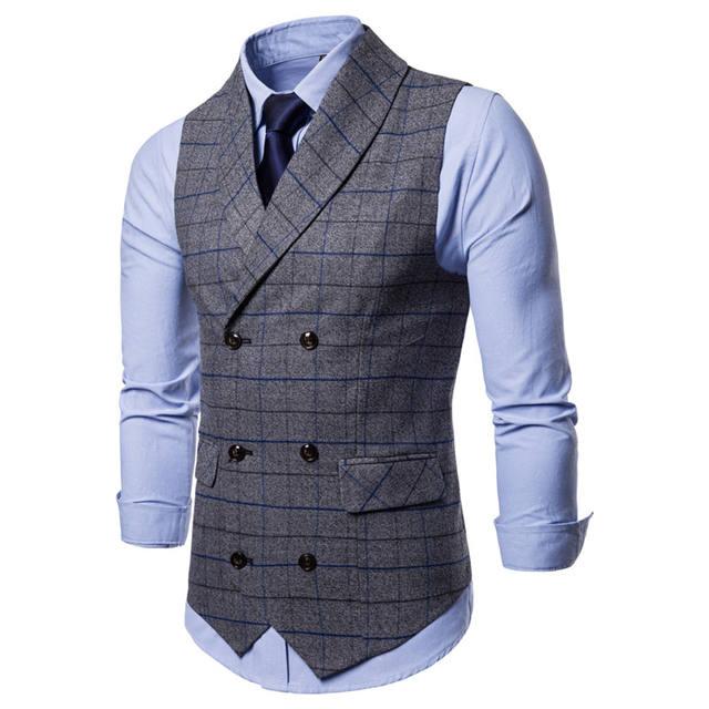 FFXZSJ Men Suit Vest 2018 Double Breasted Waistcoat Slim Fit Gilet Men Business Wedding Colete Masculino Social Blazer Plus Size