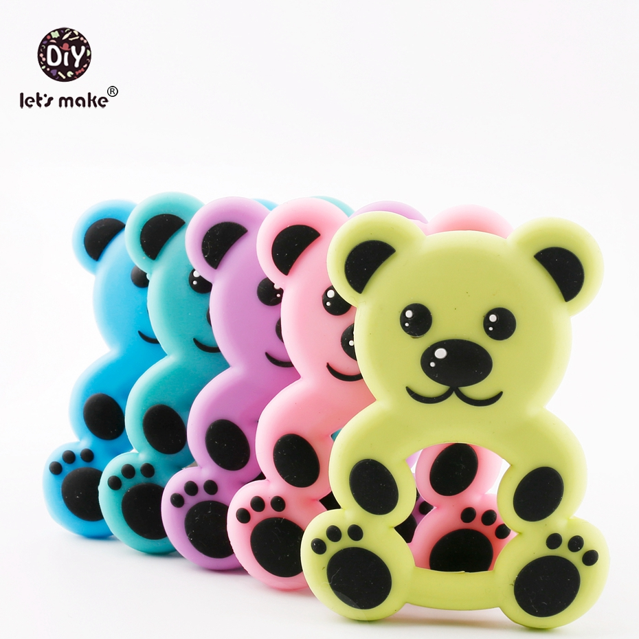 Lets Make 1pc Cute Bear Baby Nursing Accessories BPA Free Silicone Teether Necklace Pendant Stroller Toy Pram Rodent Silicone