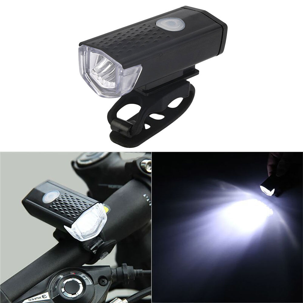 300LM Waterproof Multi-function Front USB Charging Bicycle Lamp Bike Light Flash Headlight
