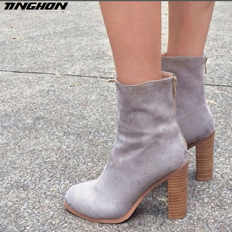 TINGHON Autumn winter short cylinder boots with Zipper high heel boots shoes Martin boots women ankle boots with thick scrub martin new winter with thick british style short canister female fall side zipper boots