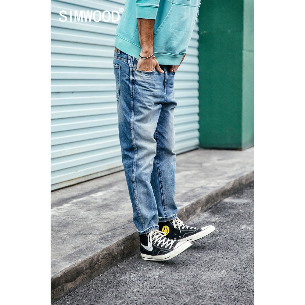 SIMWOOD 2020 Jeans Men Ankle-Length Pants Fashion Slim Fit High Quality Denim Pants Trousers Brand Clothing Free Shipping 190030