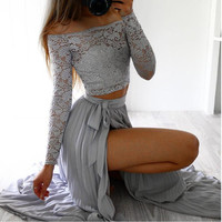 New Style Women Lace Long Sleeve Summer Tops Chiffon Formal Party Cocktail Long Skirt Sexy Fashion Hot Sales Dreese Wolovey 2018
