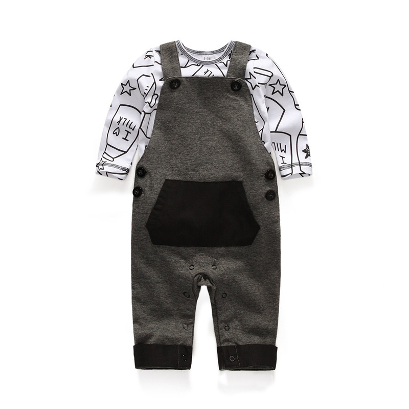 Spring&Autumn Infant Cotton Clothes Set Newborn Gift 2 piece Long Sleeve T-Shirt Braces Suspender Baby Boy Romper Suit  2016 autumn baby boy set cotton long sleeve print t shirt pants fashion baby boy clothes infant 3pcs suit hat lt01
