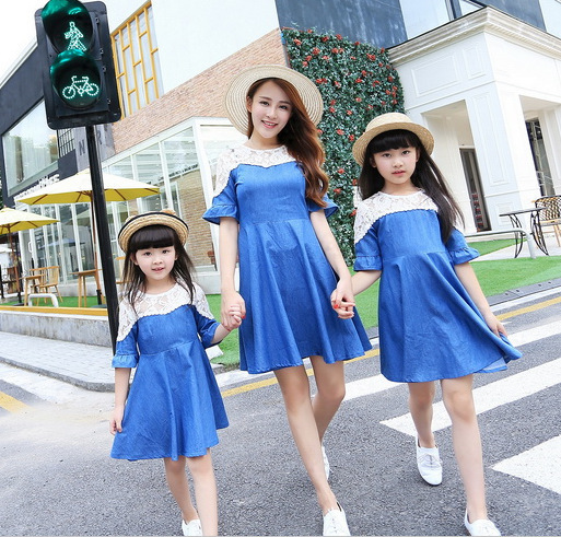 2015 del verano del estilo jean dres vestidos infantis vestidos madre hija madre e hija vestido de la familia look ropa a juego roupas