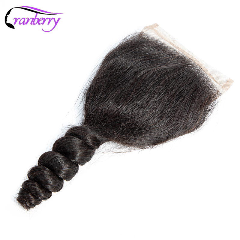 CRANBERRY Brazilian Hair Loose Wave Closure Human Hair Closure Swiss Lace Three Middle Free Part 4